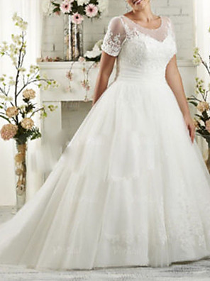 cheap Wedding Dresses-A-Line Wedding Dresses Scoop Neck Sweep / Brush Train Lace Short Sleeve with 2020