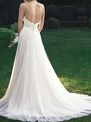 cheap Wedding Dresses-A-Line Wedding Dresses Strapless Sweep / Brush Train Tulle Regular Straps with Appliques 2020