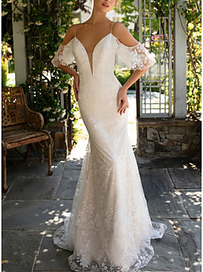 cheap Wedding Dresses-Sheath / Column Wedding Dresses V Neck Court Train Lace Spaghetti Strap with Appliques 2020