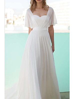 cheap Wedding Dresses-A-Line Wedding Dresses Scoop Neck Floor Length Chiffon Charmeuse Short Sleeve with Draping 2020