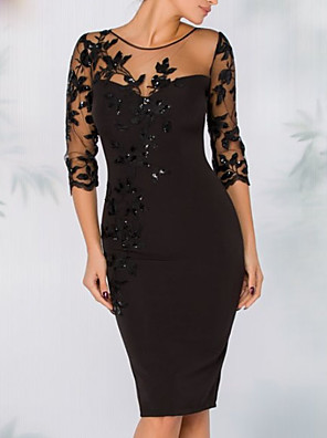 cheap Cocktail Dresses-Sheath / Column Elegant Black Wedding Guest Cocktail Party Dress Illusion Neck 3/4 Length Sleeve Knee Length Polyester with Sequin Appliques 2020