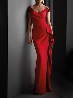 cheap Prom Dresses-Sheath / Column Sexy Red Wedding Guest Formal Evening Dress V Neck Short Sleeve Sweep / Brush Train Jersey with Draping 2020