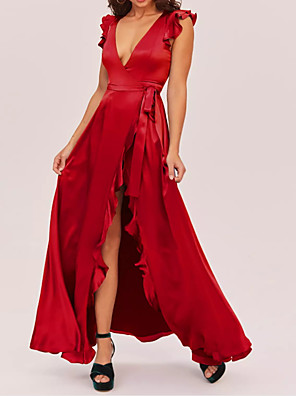 cheap Prom Dresses-A-Line Furcal Prom Formal Evening Dress Plunging Neck Sleeveless Floor Length Charmeuse with Ruffles Split Front 2020
