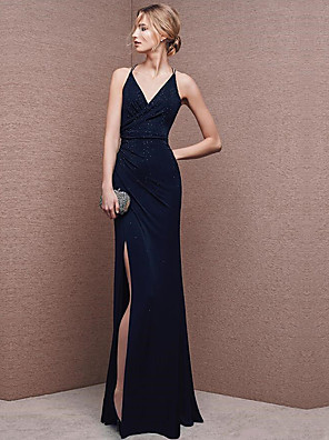 cheap Junior Bridesmaid Dresses-A-Line Mermaid / Trumpet Sexy Formal Evening Dress V Neck Sleeveless Floor Length Chiffon with Crystals Split Front 2020