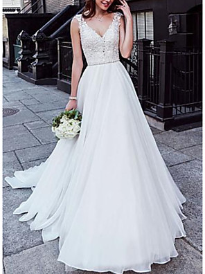 cheap Wedding Dresses-A-Line Wedding Dresses V Neck Court Train Chiffon Lace Regular Straps with Beading 2020