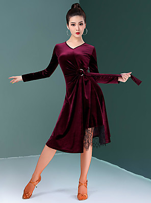 cheap Prom Dresses-Latin Dance Dress Lace Sashes / Ribbons Ruching Women's Training Performance Long Sleeve Natural Velvet