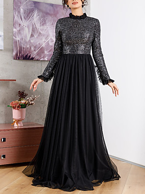 cheap Prom Dresses-A-Line Sparkle Black Wedding Guest Formal Evening Dress High Neck Long Sleeve Sweep / Brush Train Chiffon with Pleats Sequin 2020