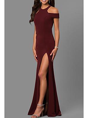 cheap Prom Dresses-Sheath / Column Elegant Formal Evening Dress Jewel Neck Short Sleeve Sweep / Brush Train Jersey with Pleats Split Front 2020