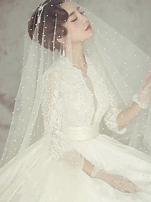 cheap Wedding Veils-One-tier Classic Style / Lace Wedding Veil Chapel Veils with Solid / Pattern POLY / Lace