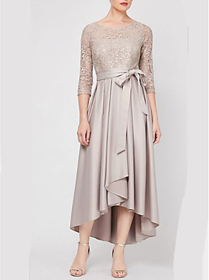 cheap Mother of the Bride Dresses-A-Line Mother of the Bride Dress Elegant & Luxurious Jewel Neck Asymmetrical Lace Satin 3/4 Length Sleeve with Bow(s) 2020
