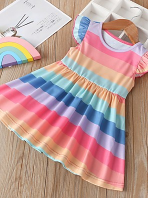 cheap Girls' Dresses-Kids Girls' Striped Dress Rainbow