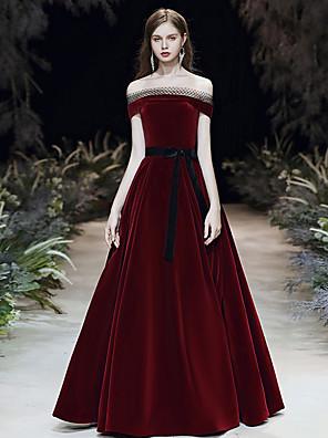 cheap Prom Dresses-A-Line Elegant Vintage Inspired Prom Dress Off Shoulder Short Sleeve Floor Length Velvet with Sash / Ribbon 2020