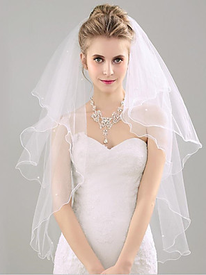 cheap Wedding Veils-Two-tier Sweet Style / Lovers Wedding Veil Fingertip Veils with Solid 53.15 in (135cm) Tulle / Straight Cut