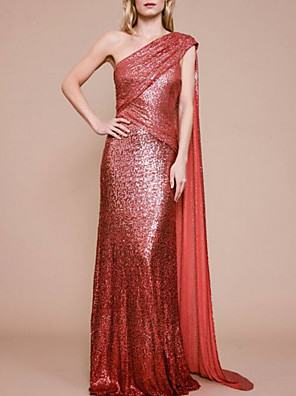 cheap Evening Dresses-Sheath / Column Sparkle Red Engagement Formal Evening Dress One Shoulder Sleeveless Sweep / Brush Train Sequined with Ruched Sequin Draping 2020