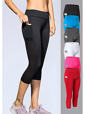 cheap Leggings-YUERLIAN Women's High Waist Yoga Pants Pocket Capri Leggings 4 Way Stretch Breathable Quick Dry White Black Red Mesh Spandex Fitness Gym Workout Running Sports Activewear High Elasticity Slim