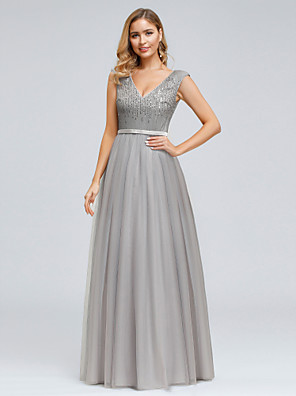 cheap Prom Dresses-A-Line Vintage Inspired Prom Dress Plunging Neck Sleeveless Floor Length Satin Tulle with Sequin 2020