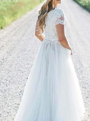 cheap Flower Girl Dresses-A-Line Wedding Dresses Off Shoulder Floor Length Chiffon Lace Short Sleeve with Draping Appliques 2020