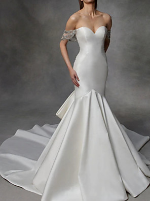 cheap Wedding Dresses-Mermaid / Trumpet Wedding Dresses Strapless Court Train Tulle Stretch Satin Lace Over Satin Short Sleeve with Bow(s) 2020