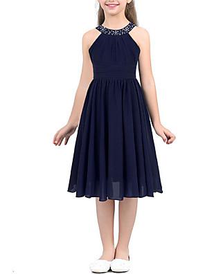 cheap Junior Bridesmaid Dresses-A-Line Round Tea Length Chiffon Junior Bridesmaid Dress with Beading / Ruching