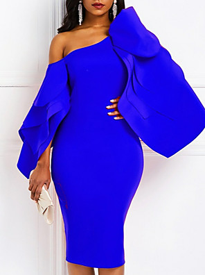 cheap Cocktail Dresses-Sheath / Column Sexy Blue Cocktail Party Formal Evening Dress One Shoulder Long Sleeve Knee Length Satin with Draping 2020