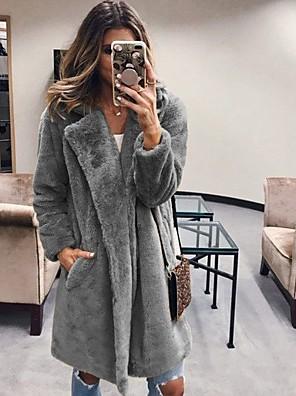 cheap Women's Fur & Faux Fur Coats-Women's Daily Long Faux Fur Coat, Solid Colored Rolled collar Long Sleeve Faux Fur Blushing Pink / Fuchsia / Camel