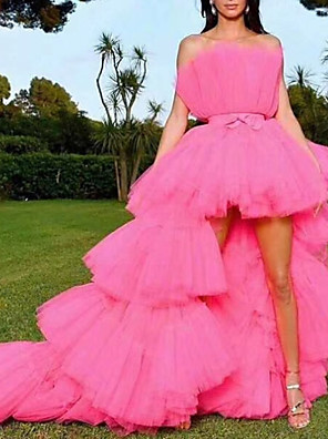 cheap Prom Dresses-A-Line Cute Prom Formal Evening Dress Strapless Sleeveless Asymmetrical Tulle with Pleats Tier 2020