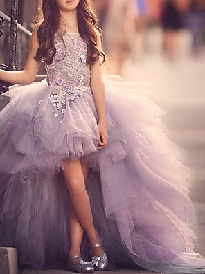 cheap Prom Dresses-Ball Gown Sweep / Brush Train Pageant Flower Girl Dresses - Polyester Sleeveless Jewel Neck with Appliques
