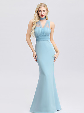 cheap Bridesmaid Dresses-Mermaid / Trumpet Sweetheart Neckline Floor Length Polyester / Spandex / Tulle Bridesmaid Dress with Ruching / Bandage / Convertible Dress