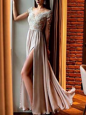 cheap Prom Dresses-A-Line Empire Sparkle Wedding Guest Prom Dress V Neck Half Sleeve Floor Length Chiffon Lace with Appliques Split Front 2020