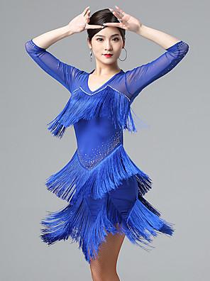 cheap Mother of the Bride Dresses-Latin Dance Dress Tassel Women's Performance 3/4 Length Sleeve Mesh Milk Fiber