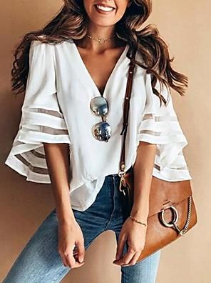 cheap Women's Blouses & Shirts-Women's T-shirt Solid Colored 3/4 Length Sleeve Tops V Neck White Black Purple