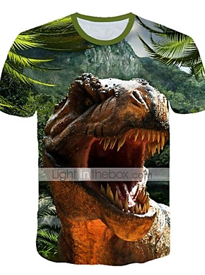 cheap Boys' Tops-Kids Toddler Boys' Active Street chic Fantastic Beasts Dinosaur Animal Print Short Sleeve Tee Purple