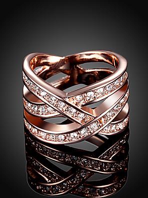 povoljno Kvarcni satovi-Žene Band Ring Prsten Zaručnički prsten Kubični Zirconia 1pc Rose Gold Kamen Umjetno drago kamenje Pozlata od crvenog zlata Geometric Shape Moda Party Dnevno Jewelry Izrezati dragocjen Slatko Cool