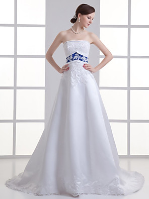 cheap Wedding Dresses-A-Line Wedding Dresses Strapless Court Train Lace Satin Strapless with Sashes / Ribbons Beading Appliques 2020