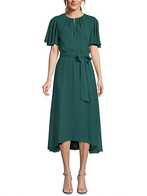 cheap Mother of the Bride Dresses-A-Line Mother of the Bride Dress Plus Size Jewel Neck Tea Length Chiffon Short Sleeve with Sash / Ribbon Bow(s) Ruching 2020