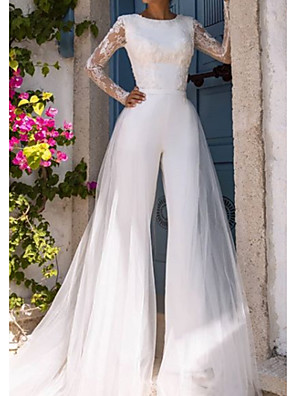 cheap Wedding Dresses-Jumpsuits Wedding Dresses Jewel Neck Court Train Lace Tulle Long Sleeve Modern Illusion Sleeve with Lace 2020