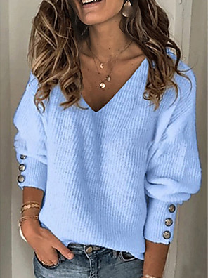 cheap Women's Blouses & Shirts-Women's Solid Colored Pullover Long Sleeve Sweater Cardigans V Neck Blue Red Gray
