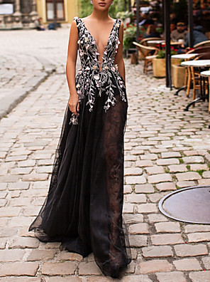cheap Prom Dresses-A-Line Elegant Prom Formal Evening Dress Plunging Neck Sleeveless Floor Length Tulle with Beading Appliques 2020