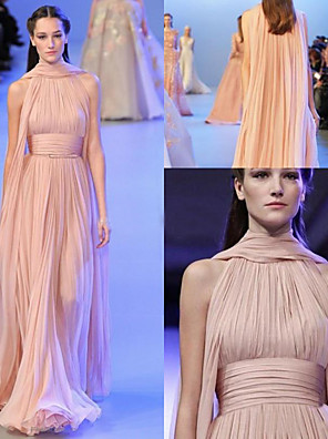 cheap Evening Dresses-A-Line Empire Pink Engagement Formal Evening Dress Halter Neck Sleeveless Sweep / Brush Train Chiffon with Pleats Ruched 2020