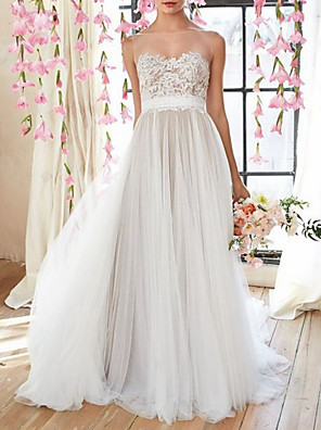 cheap Evening Dresses-A-Line Wedding Dresses Jewel Neck Court Train Tulle Spaghetti Strap with Lace Insert 2020