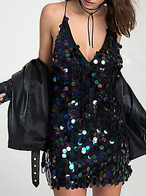povoljno Ženske haljine-Žene Haljina s remenom Mini haljina - Bez rukávů Jednobojni Elegantno Slim Crn S M L XL