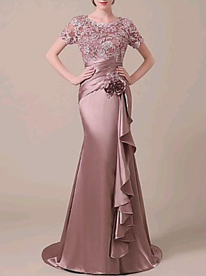 cheap Evening Dresses-Mermaid / Trumpet Elegant Formal Evening Dress Jewel Neck Short Sleeve Sweep / Brush Train Lace Satin with Ruched Ruffles Appliques 2020