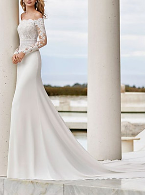 cheap Wedding Dresses-Mermaid / Trumpet Wedding Dresses Off Shoulder Court Train Lace Satin Long Sleeve Country See-Through Illusion Sleeve with Buttons Lace Insert 2020