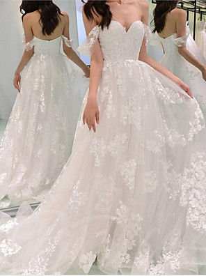 cheap Wedding Dresses-A-Line Wedding Dresses Off Shoulder Sweep / Brush Train Chiffon Lace Strapless with Draping Appliques 2020