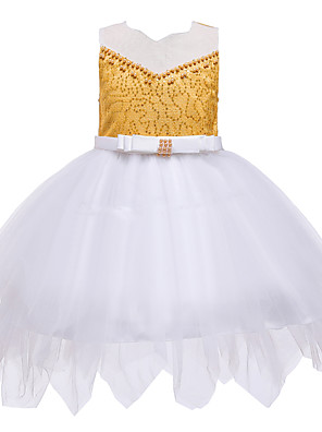cheap Girls' Dresses-Kids Toddler Girls' Active Cute Patchwork Solid Colored Beaded Bow Mesh Sleeveless Knee-length Dress Wine