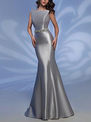 cheap Evening Dresses-Sheath / Column Elegant Formal Evening Dress Boat Neck Sleeveless Floor Length Satin with Sash / Ribbon 2020