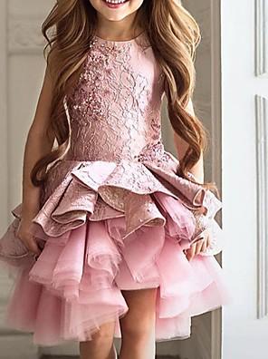 cheap Flower Girl Dresses-Ball Gown Asymmetrical Pageant Flower Girl Dresses - Polyester Sleeveless Jewel Neck with Cascading Ruffles