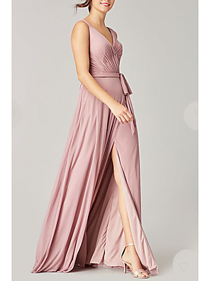 cheap Bridesmaid Dresses-A-Line Plunging Neck Floor Length Satin Bridesmaid Dress with Sash / Ribbon / Split Front / Open Back