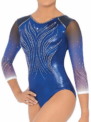 cheap Gymnastics-21Grams Rhythmic Gymnastics Leotards Artistic Gymnastics Leotards Women's Girls' Leotard Dark Blue Spandex High Elasticity Handmade Jeweled Diamond Look Long Sleeve Competition Dance Rhythmic