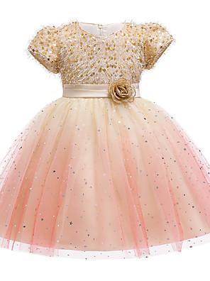 cheap Girls' Dresses-Kids Girls' Cute Jacquard Sequins Bow Mesh Short Sleeve Knee-length Dress Wine